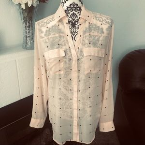 Peach Sheer Blouse by New York & Company